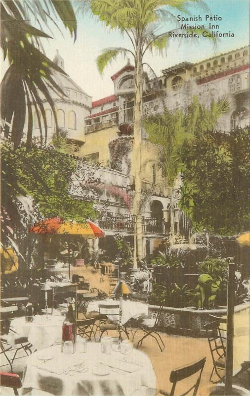 Spanish Courtyard, Mission Inn Handcolored Postcard