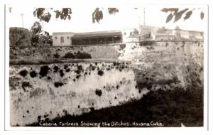 RPPC Cabana Fortress showing the Ditches, Havana, Cuba Real Photo Postcard