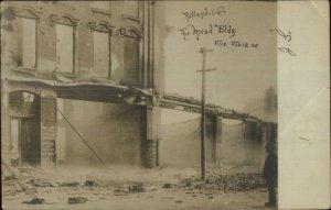 Rutland VT Mead Bldg Fire 1906 Real Photo Postcard