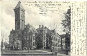 D/B Postcard of High School in Spokane Washington WA 1910