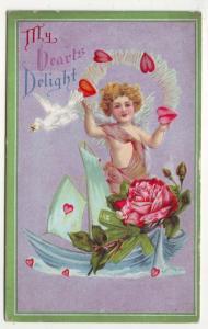 P158 JLs 1907-15 postcard cupid hearts delight sail boat
