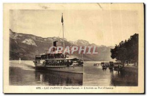 Old Postcard Lake Annecy The Arrival at the Port of Annecy Boat