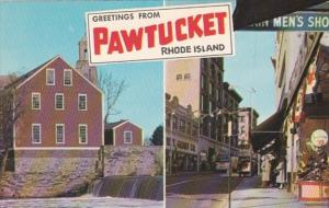 Rhode Island Greetings From Pawtucket Showing Main Street and Old Slater Mill