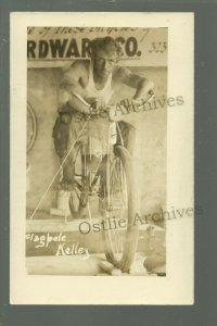 c1930s FLAGPOLE KELLY Stunt Man BICYCLE Flag Pole Sitting AUTOGRAPHED Daredevil