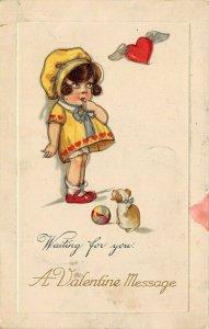 LP19   Valentine's Day  Winsch   Postcard Little Girl Puppy