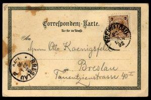 Austria/Germany/Poland 1898 Gruss Aus Grafenberg Card to Breslau