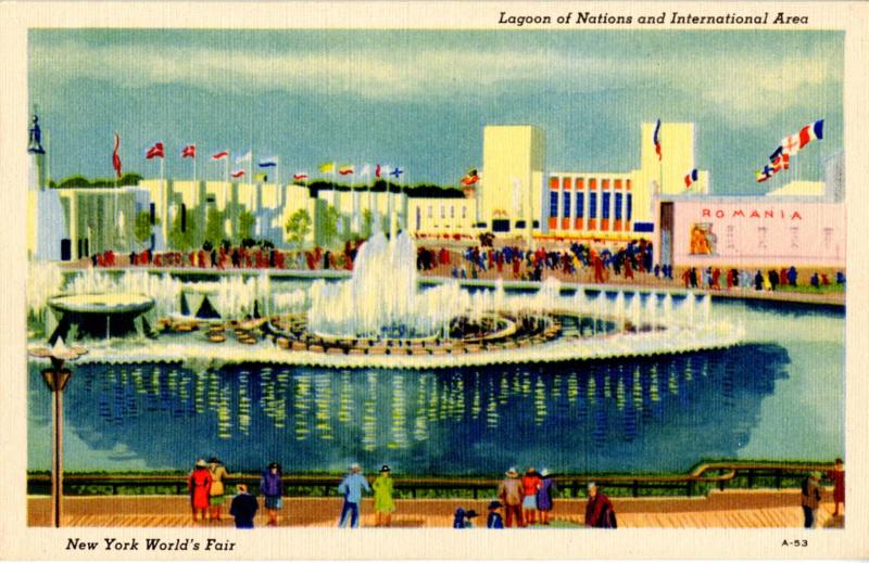 NY - New York World's Fair, 1939. Lagoon of Nations Fountains & International...