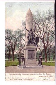 Crispus Attucks Monument, Boston, Massachusetts,  Used Flag Cancel 1905
