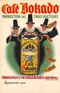 Advertising Postcard - Old Vintage Antique  Café Bokado Production des Trois...