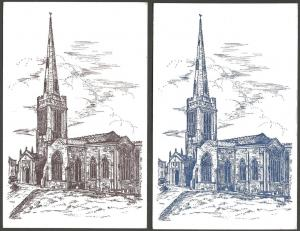 Postcards OUNDLE Parish Church Northamptonshire Art Drawing in two Colours