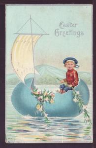 Easter Greetings Boy Egg Sailboat Postcard 2712