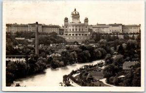 Vintage Bern, Switzerland RPPC Real Photo Postcard Le Palais Federal Palace View