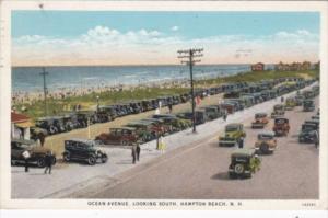 New Hampshire Hampton Beach Old Cars On Ocean Avenue Looking South 1943 Curteich