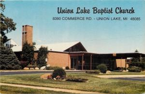 Union Lake Michigan~Union Lake Baptist Church on Commerce Road~1960s Postcard
