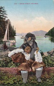 Alaska An Eskimo Indian Woman and Child