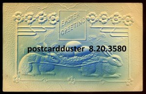 3580 - EASTER Postcard 1908 Embossed Airbrushed Rabbits Carrying Eggs