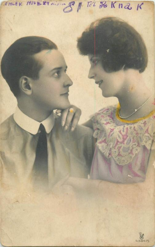 Photo postcard 1920s romantic couple lovers love amoureux