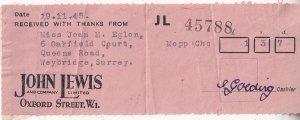 John Lewis Oxford Street London Department Store WW2 Receipt