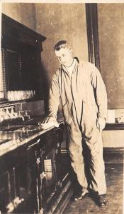 Real Photo Postcard~Committee Cleaning Bar at the Mill City~Counter~One Man~1918