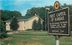 Fort Riley Military Reservation Kansas~c1855 First State Capitol~1970s Postcard
