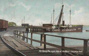 PORTLAND , Maine , 1914 ; CAPE ELIZABETH LIGHTSHIP at dock