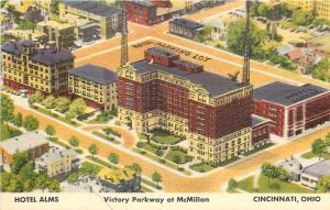 Cincinnati OH~Radio Tower~Hotel Alms~Victory Parkway @ McMillan~Map~1940s Linen