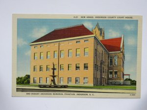 New Annex at Anderson County Court House SOUTH CARILINA Vintage Linen Postcard