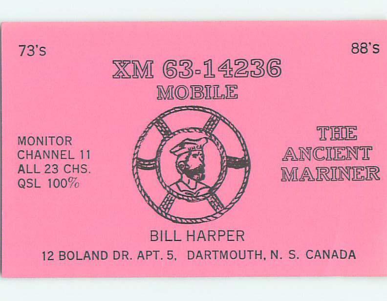 Sailor Mariner Nautical - Qsl Ham Radio In Dartmouth Nova Scotia Canada t1665