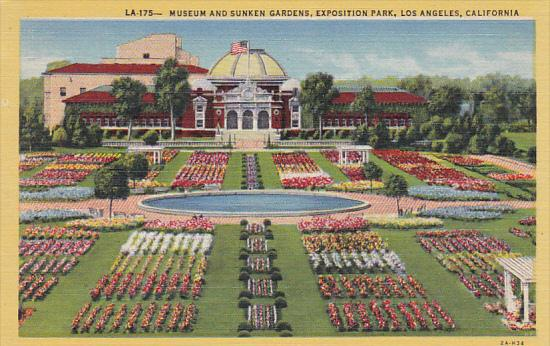 Museum and Sunken Gardens Exposition Park Los Angeles California Curteich