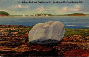 Maine Bar Harbor Mt Desert Island Balance Rock and Frenchman's Bay Curteich