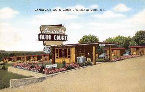 Wisconsin Dells Wisconsin~Landeck's Auto Court~Office~Cabins~1950s Postcard