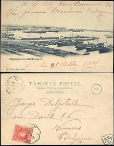 spain, BARCELONA, Panorama Harbour (1901) Stamp