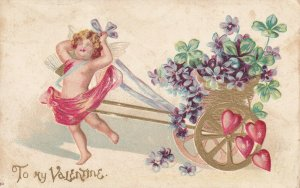 VALENTINE, PU-1907; Cupid pulling gold wagon full of flowers, Red Hearts