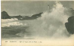 Biarritz, Effet de Vagues pres du Phare 1916 used Postcard