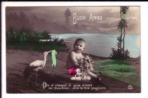 Photo of Baby with Stork, Buon Anno, Italian Happy New Year