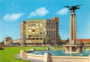 Netherlands Leeuwarden Europaplein met Euro Hotel Fountain