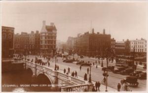 Ireland Dublin O'Connell Bridge From Eden Quay 1929 Real Photo