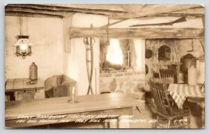 Holy Hill Hubertus Wisconsin~Fox & Hounds Inn~Tap Room Fireplace~1930s RPPC