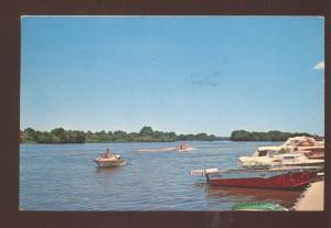 OTTAWA ILLINOIS PLEASURE BOAT JUNCTION FOX RIVER 1950's BOATS VINTAGE POSTCARD