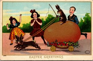 VINTAGE - Julius Bien Easter Greetings Postcard - Rabbit Riding Egg - PC