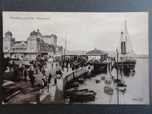 WEYMOUTH Pavilion & Pier WHITE CHRYSANTHEMUM & Steam Ferry c1911 Valentine 69662