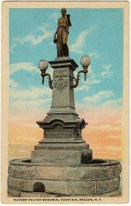 1915-1930 Beacon NY New York Hudson-Fulton Memorial Fountain RARE WB Postcard