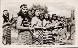 Maori Dancers Rotorua NZ New Zealand Pretty Women Real Photo Postcard E56