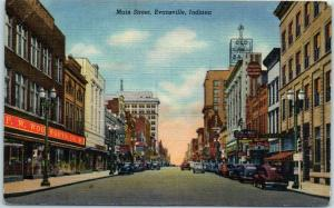 Evansville, Indiana Postcard MAIN STREET w/ Woolworth Store View Linen 1947
