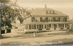 Harrington House Maines~Sunroom/Porch~Garage~Sepia Real Photo Postcard c1926