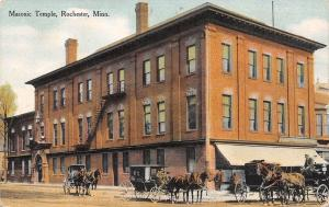 Rochester MN Horse & Buggies~Fire Escapes on Masonic Temple~Postcard c1910