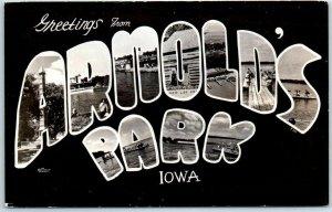 Vintage ARNOLD'S PARK Iowa Large Letter Postcard RPPC Photo c1950s Print