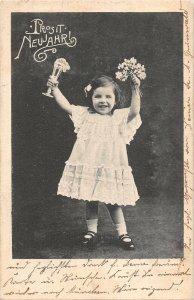 US3307 Prosit Neujahr Little Girl in Dress, Flowers Happy New Year greetings