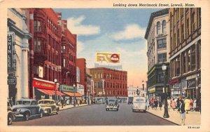 Looking down Merriamck Street Lowell, Massachusetts Postcard