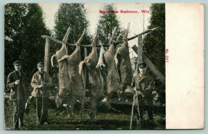 Radisson Wisconsin~Hunting Scene~3 Deer Hunters Lean on Guns~Bucks on Pole~1911